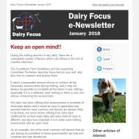 Dairy Focus Newsletter January 2018